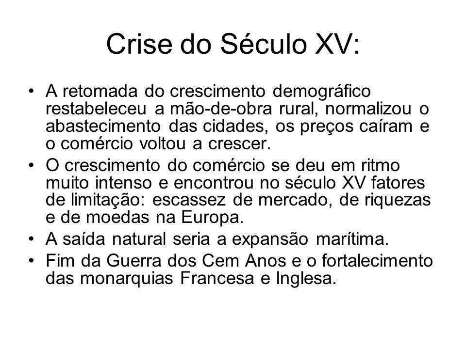 Crise do Século XV: A retomada do crescimento demográfico restabeleceu a mão-de-obra rural, normalizou o abastecimento das cidades, os preços caíram e