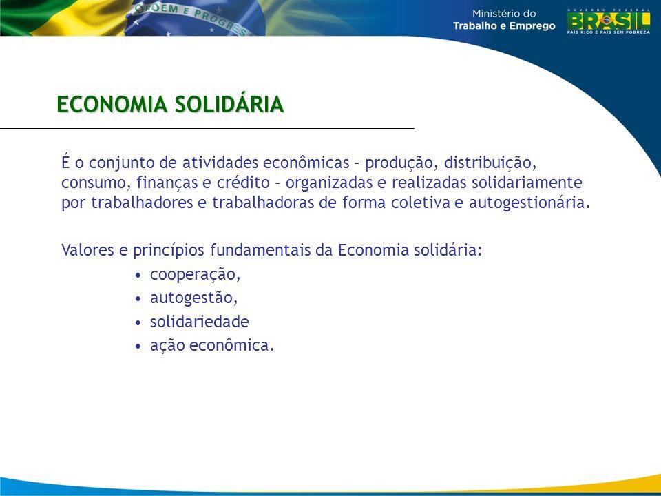 É o conjunto de atividades econômicas – produção, distribuição, consumo, finanças e crédito – organizadas e realizadas solidariamente por trabalhadore