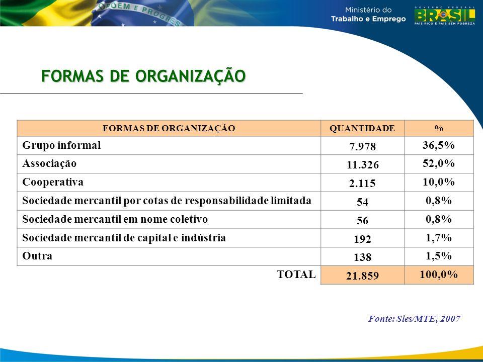 FORMAS DE ORGANIZAÇÃO Fonte: Sies/MTE, 2007 FORMAS DE ORGANIZAÇÃOQUANTIDADE% Grupo informal 7.978 36,5% Associação 11.326 52,0% Cooperativa 2.115 10,0
