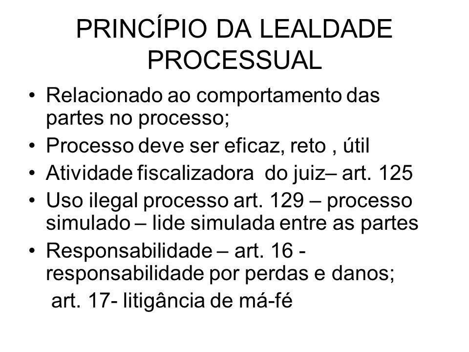 PRINCÍPIO DA LEALDADE PROCESSUAL Relacionado ao comportamento das partes no processo; Processo deve ser eficaz, reto, útil Atividade fiscalizadora do