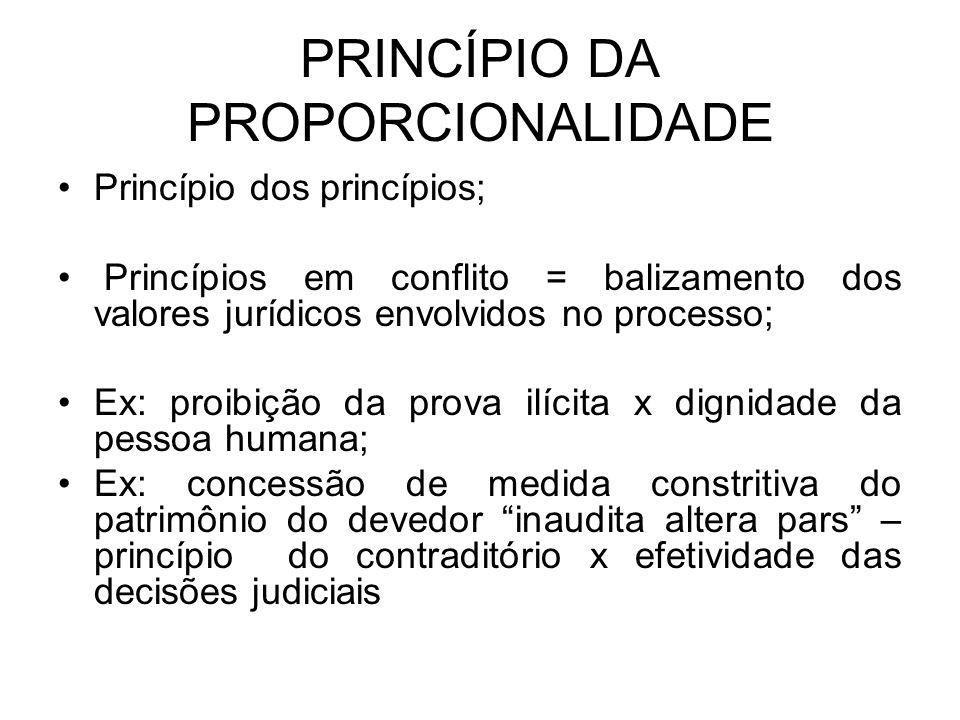 PRINCÍPIO DA PROPORCIONALIDADE Princípio dos princípios; Princípios em conflito = balizamento dos valores jurídicos envolvidos no processo; Ex: proibi