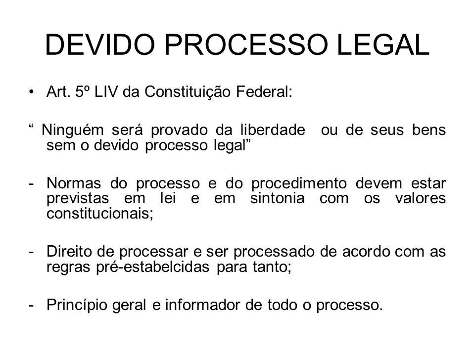 DEVIDO PROCESSO LEGAL Art. 5º LIV da Constituição Federal: Ninguém será provado da liberdade ou de seus bens sem o devido processo legal -Normas do pr