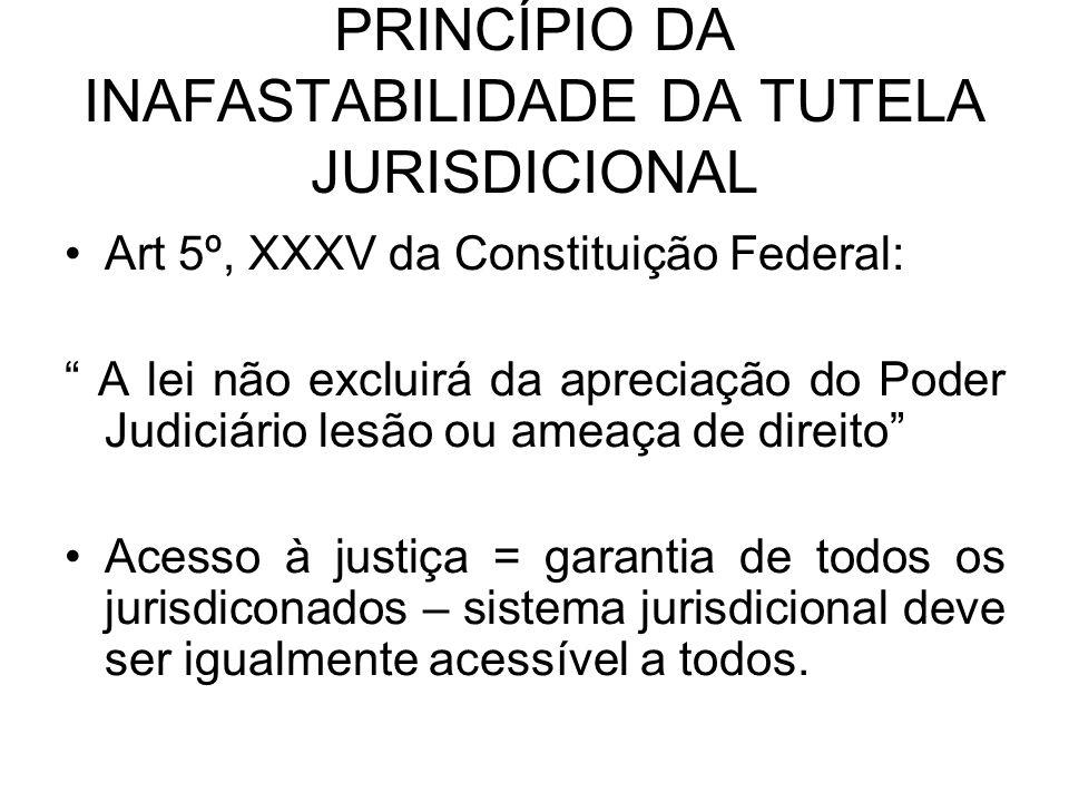 PRINCÍPIO DA INAFASTABILIDADE DA TUTELA JURISDICIONAL Art 5º, XXXV da Constituição Federal: A lei não excluirá da apreciação do Poder Judiciário lesão