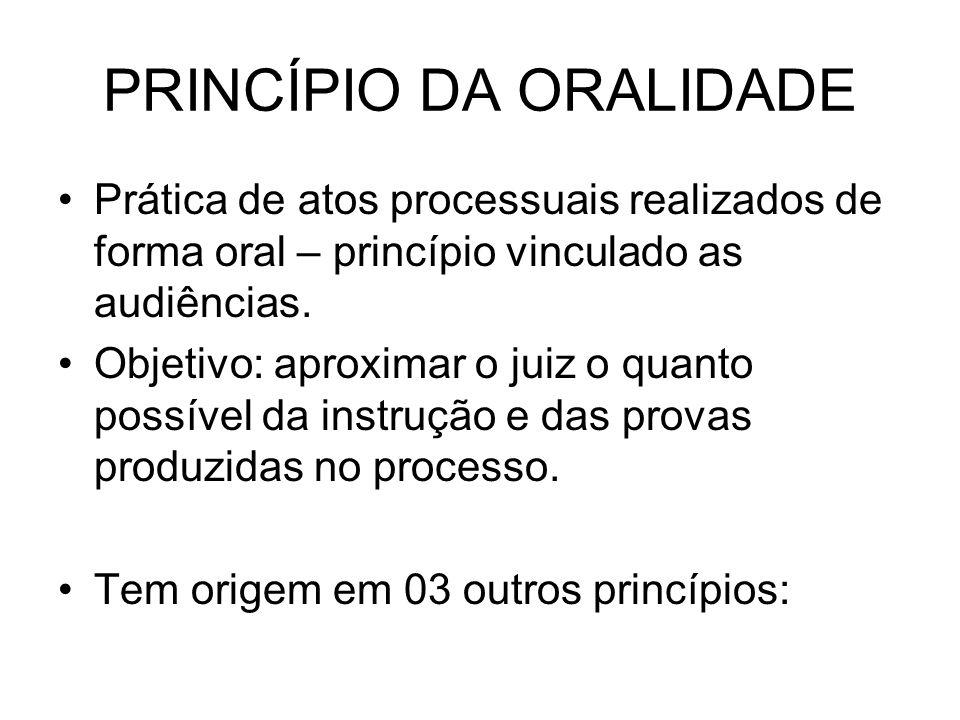 PRINCÍPIO DA ORALIDADE Prática de atos processuais realizados de forma oral – princípio vinculado as audiências. Objetivo: aproximar o juiz o quanto p