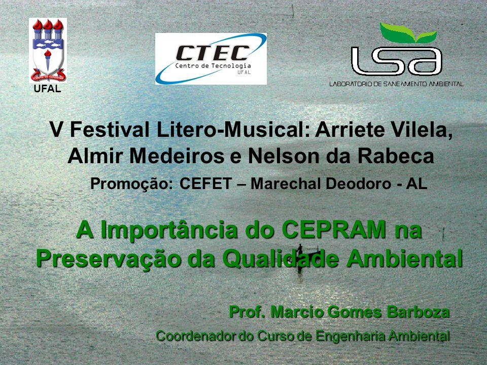 A Importância do CEPRAM na Preservação da Qualidade Ambiental Prof. Marcio Gomes Barboza Coordenador do Curso de Engenharia Ambiental UFAL V Festival