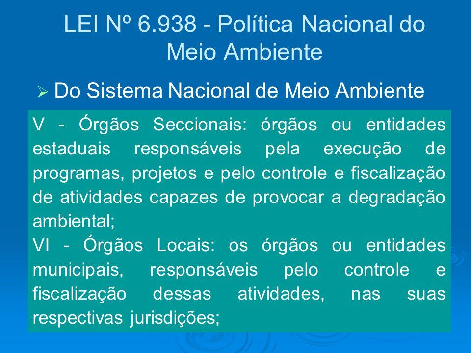 LEI Nº 6.938 - Política Nacional do Meio Ambiente V - Órgãos Seccionais: órgãos ou entidades estaduais responsáveis pela execução de programas, projet