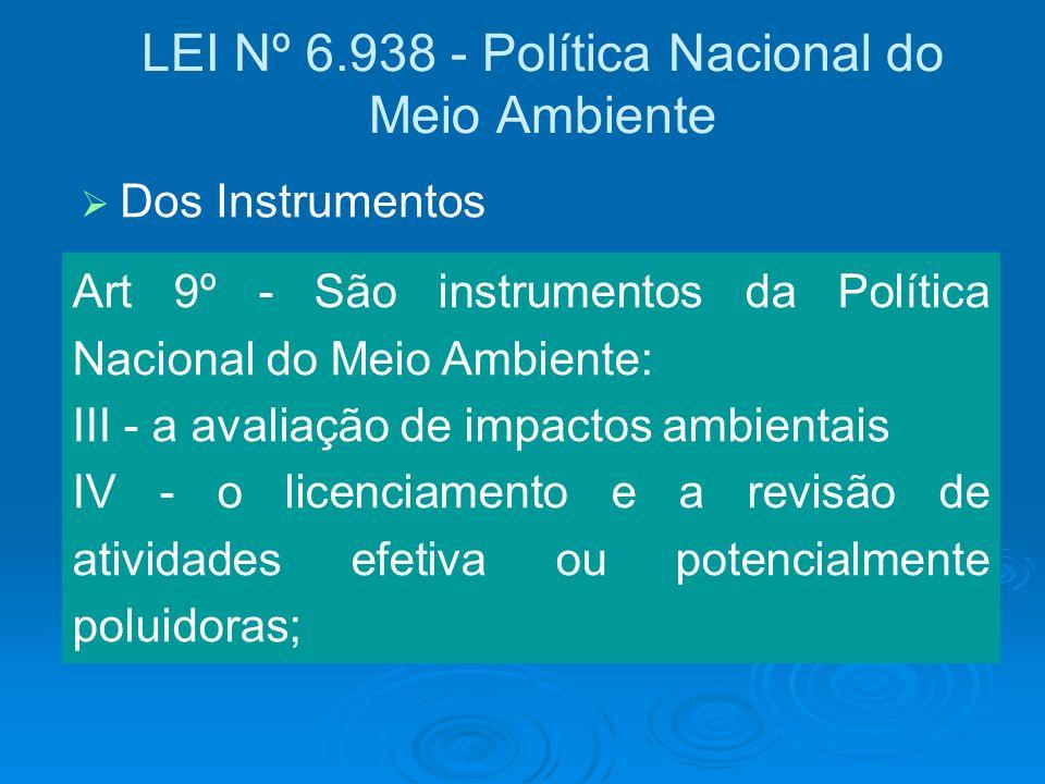 LEI Nº 6.938 - Política Nacional do Meio Ambiente Art 9º - São instrumentos da Política Nacional do Meio Ambiente: III - a avaliação de impactos ambie