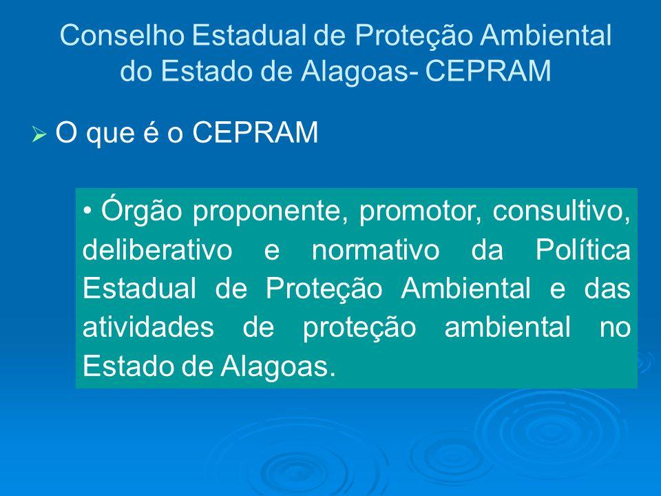 Conselho Estadual de Proteção Ambiental do Estado de Alagoas- CEPRAM Órgão proponente, promotor, consultivo, deliberativo e normativo da Política Esta