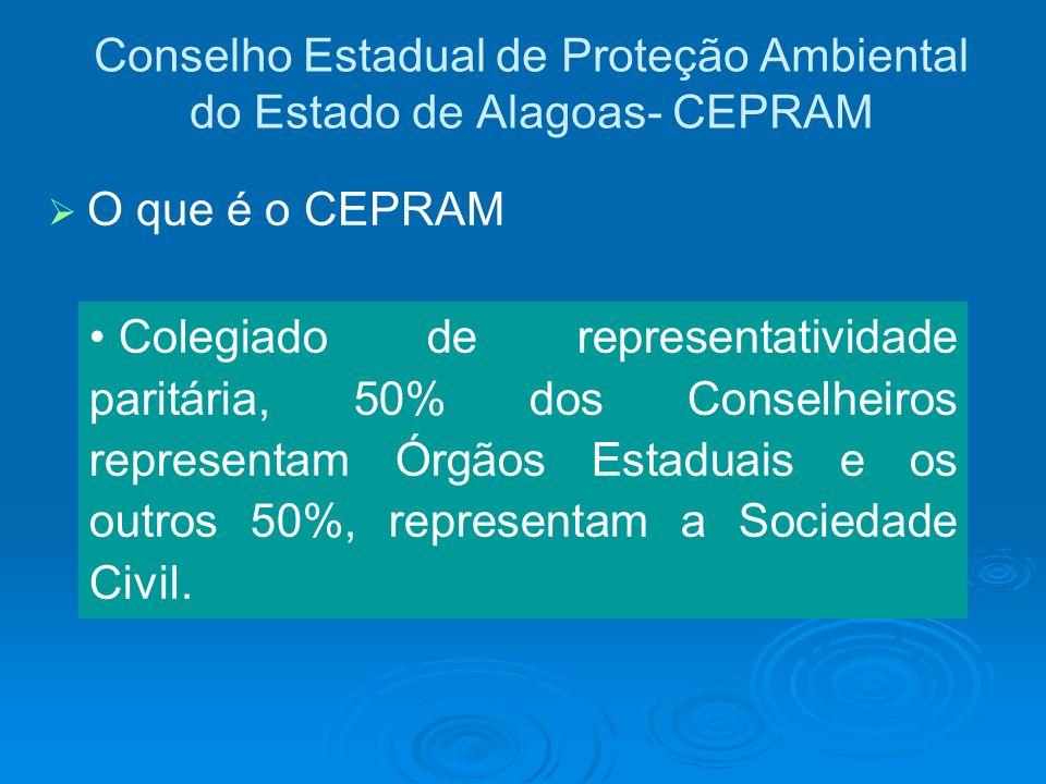 Conselho Estadual de Proteção Ambiental do Estado de Alagoas- CEPRAM O que é o CEPRAM Colegiado de representatividade paritária, 50% dos Conselheiros