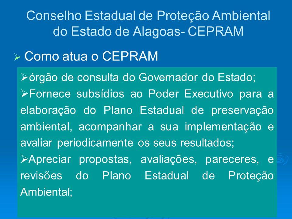 Conselho Estadual de Proteção Ambiental do Estado de Alagoas- CEPRAM órgão de consulta do Governador do Estado; Fornece subsídios ao Poder Executivo p
