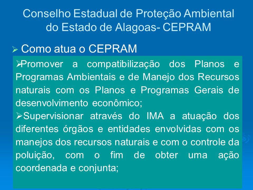 Conselho Estadual de Proteção Ambiental do Estado de Alagoas- CEPRAM Promover a compatibilização dos Planos e Programas Ambientais e de Manejo dos Rec