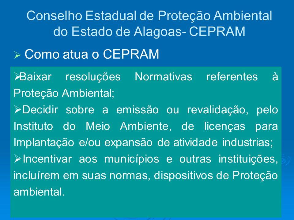 Conselho Estadual de Proteção Ambiental do Estado de Alagoas- CEPRAM Baixar resoluções Normativas referentes à Proteção Ambiental; Decidir sobre a emi