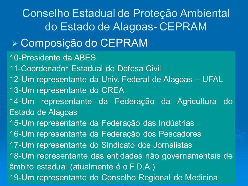 Conselho Estadual de Proteção Ambiental do Estado de Alagoas- CEPRAM 10-Presidente da ABES 11-Coordenador Estadual de Defesa Civil 12-Um representante