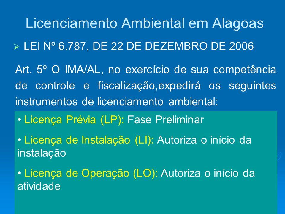 Licenciamento Ambiental em Alagoas LEI Nº 6.787, DE 22 DE DEZEMBRO DE 2006 Licença Prévia (LP): Fase Preliminar Licença de Instalação (LI): Autoriza o
