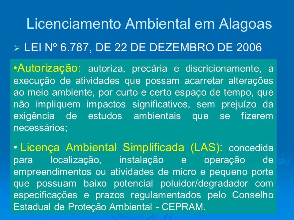 Licenciamento Ambiental em Alagoas LEI Nº 6.787, DE 22 DE DEZEMBRO DE 2006 Autorização: autoriza, precária e discricionamente, a execução de atividade