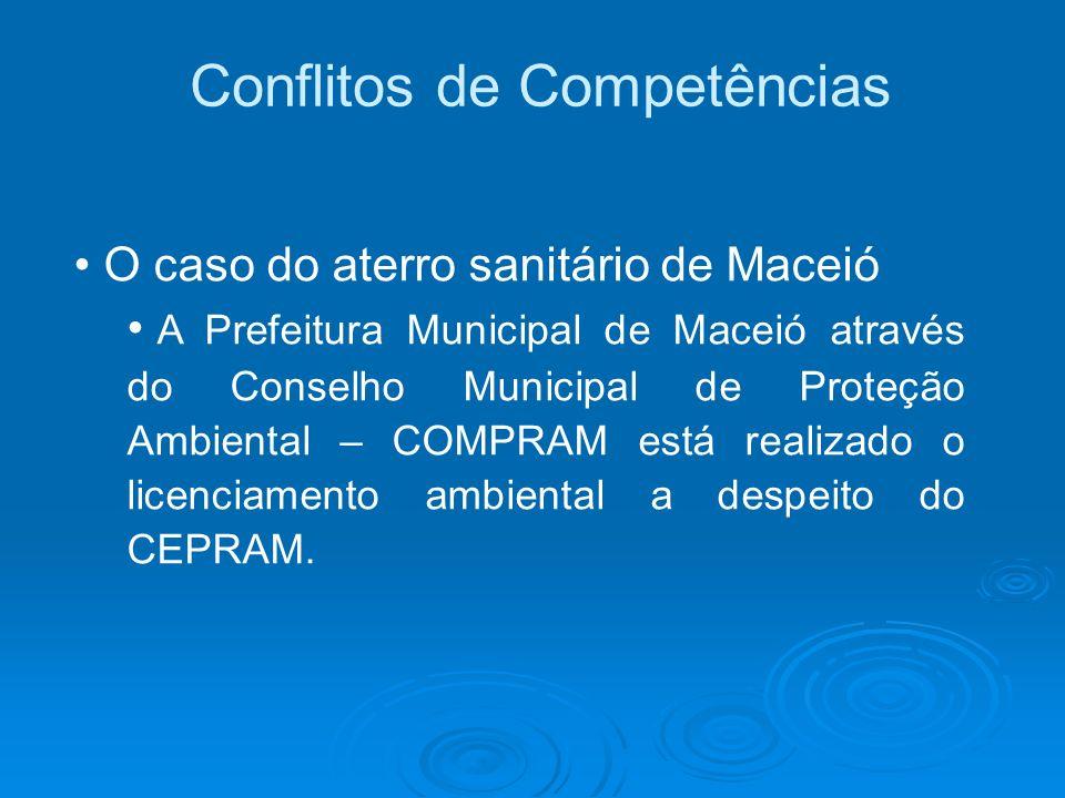 Conflitos de Competências O caso do aterro sanitário de Maceió A Prefeitura Municipal de Maceió através do Conselho Municipal de Proteção Ambiental –