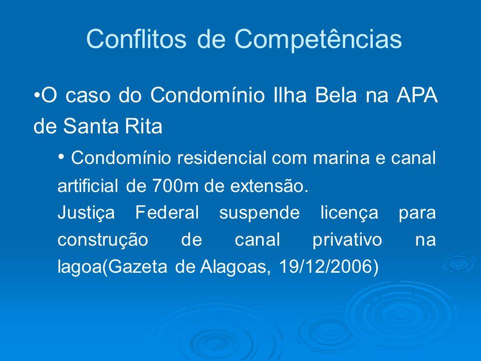 Conflitos de Competências O caso do Condomínio Ilha Bela na APA de Santa Rita Condomínio residencial com marina e canal artificial de 700m de extensão