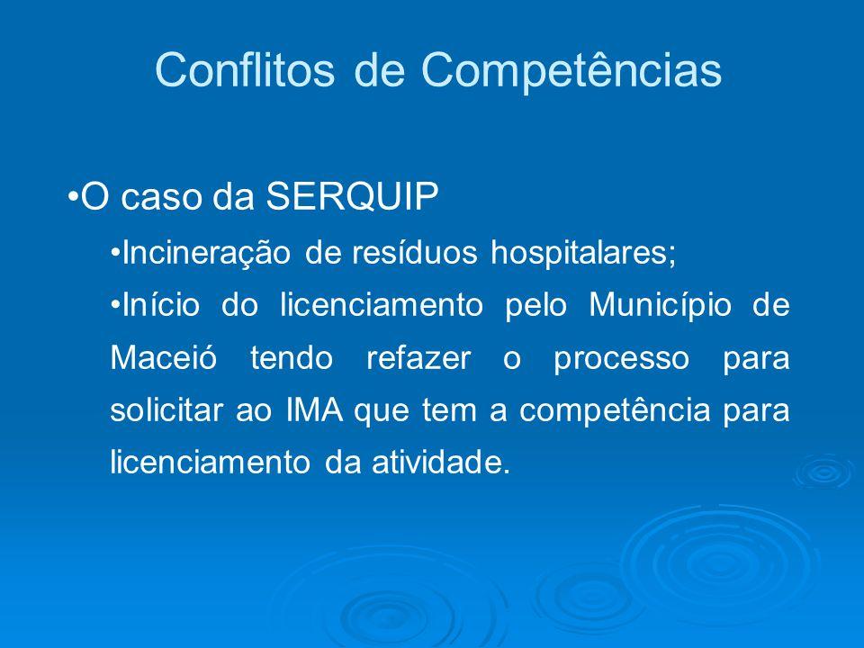 Conflitos de Competências O caso da SERQUIP Incineração de resíduos hospitalares; Início do licenciamento pelo Município de Maceió tendo refazer o pro