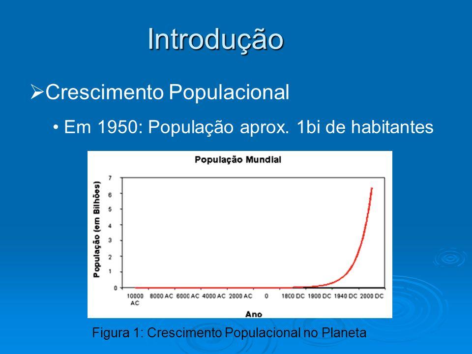 Introdução Crescimento Populacional Em 1950: População aprox. 1bi de habitantes Figura 1: Crescimento Populacional no Planeta