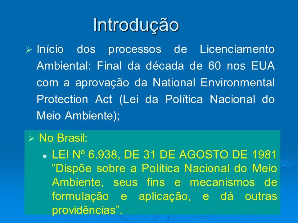 Introdução Início dos processos de Licenciamento Ambiental: Final da década de 60 nos EUA com a aprovação da National Environmental Protection Act (Le