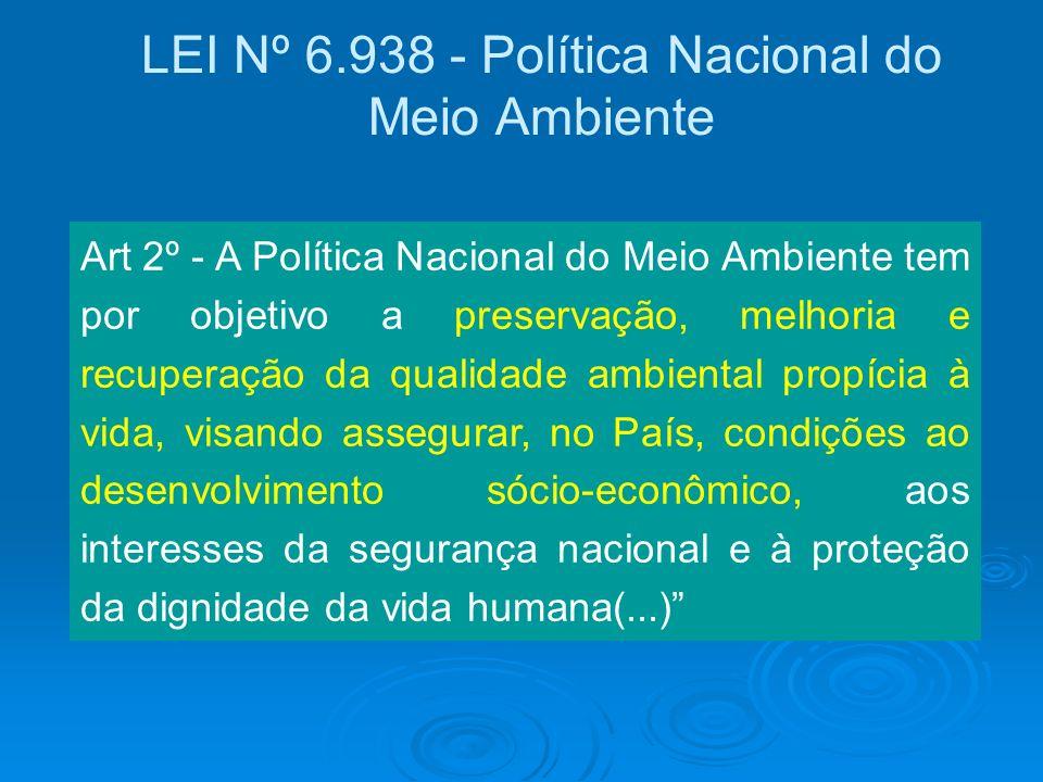LEI Nº 6.938 - Política Nacional do Meio Ambiente Art 2º - A Política Nacional do Meio Ambiente tem por objetivo a preservação, melhoria e recuperação