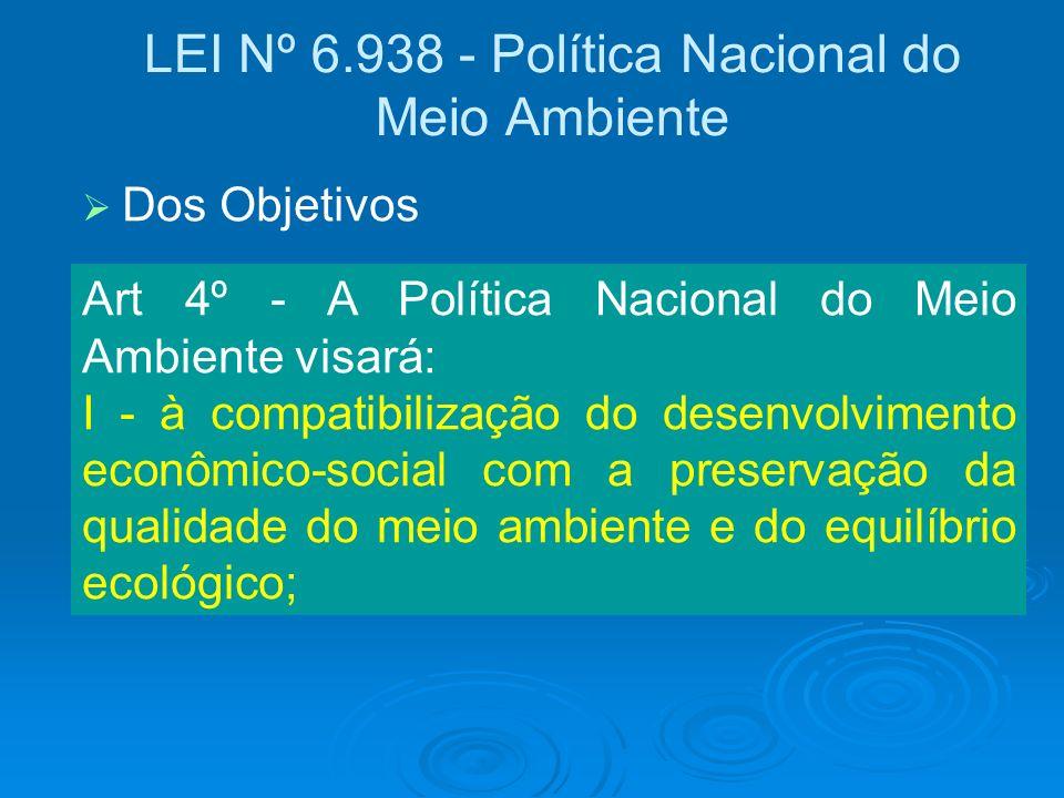 LEI Nº 6.938 - Política Nacional do Meio Ambiente Art 4º - A Política Nacional do Meio Ambiente visará: I - à compatibilização do desenvolvimento econ
