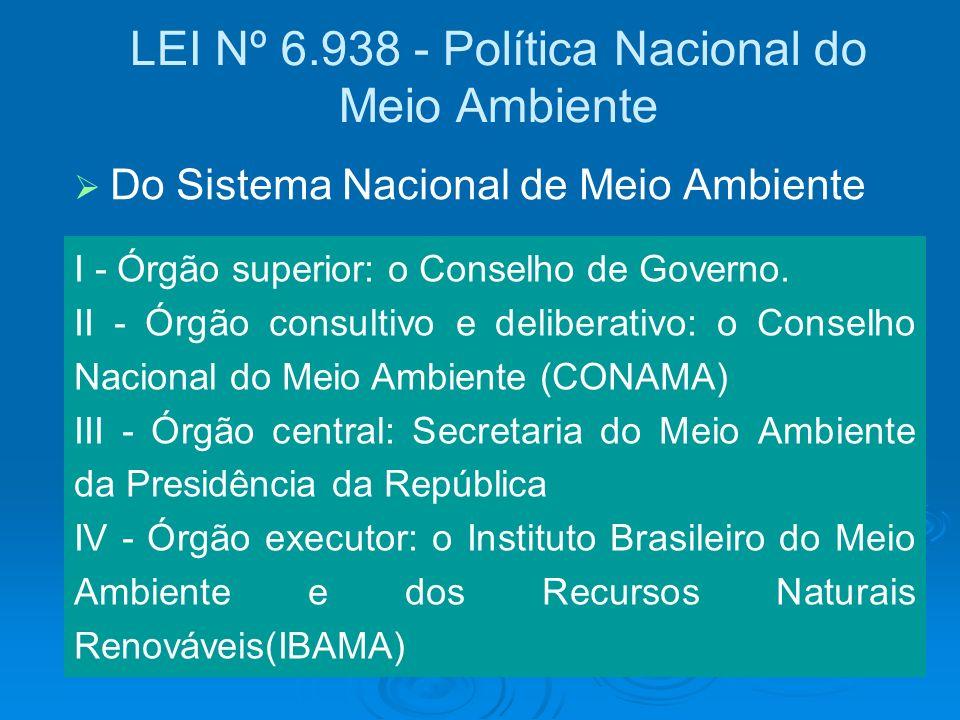 LEI Nº 6.938 - Política Nacional do Meio Ambiente I - Órgão superior: o Conselho de Governo. II - Órgão consultivo e deliberativo: o Conselho Nacional