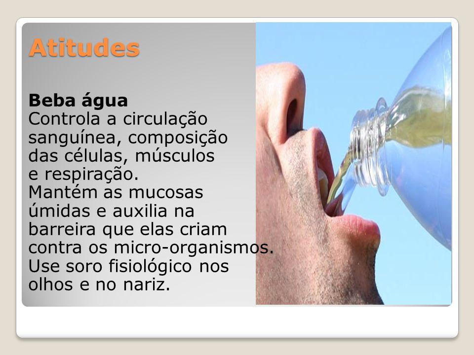 Atitudes Beba água Controla a circulação sanguínea, composição das células, músculos e respiração. Mantém as mucosas úmidas e auxilia na barreira que