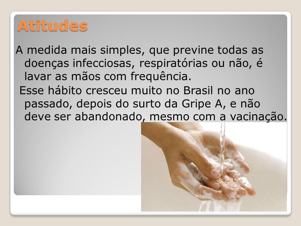Atitudes A medida mais simples, que previne todas as doenças infecciosas, respiratórias ou não, é lavar as mãos com frequência. Esse hábito cresceu mu
