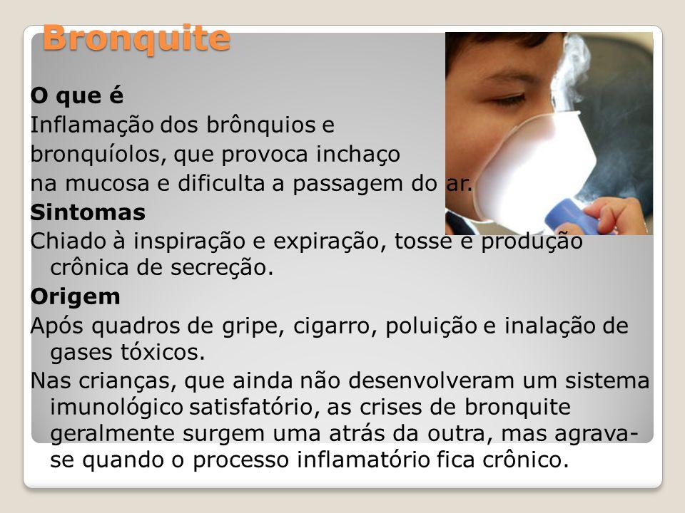 Bronquite O que é Inflamação dos brônquios e bronquíolos, que provoca inchaço na mucosa e dificulta a passagem do ar. Sintomas Chiado à inspiração e e