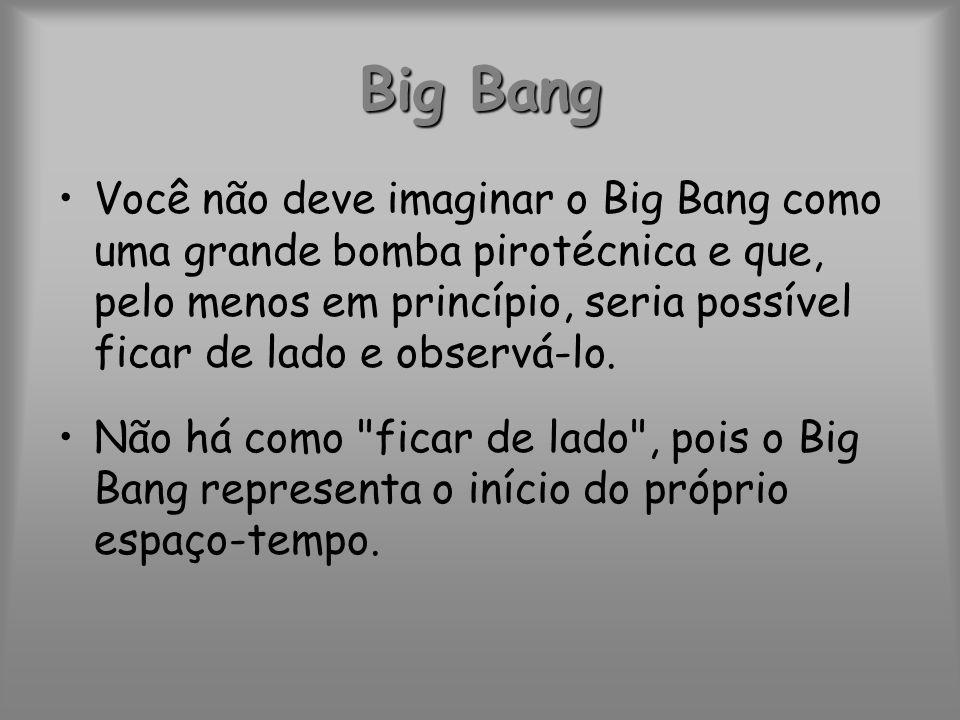 Você não deve imaginar o Big Bang como uma grande bomba pirotécnica e que, pelo menos em princípio, seria possível ficar de lado e observá-lo. Não há