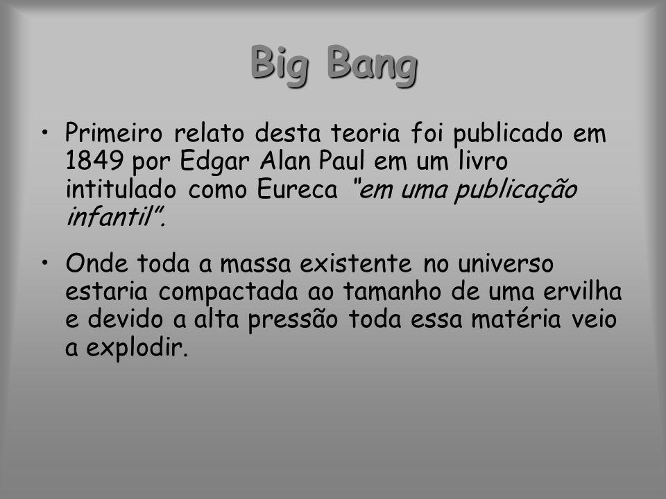 Big Bang Primeiro relato desta teoria foi publicado em 1849 por Edgar Alan Paul em um livro intitulado como Eureca em uma publicação infantil. Onde to