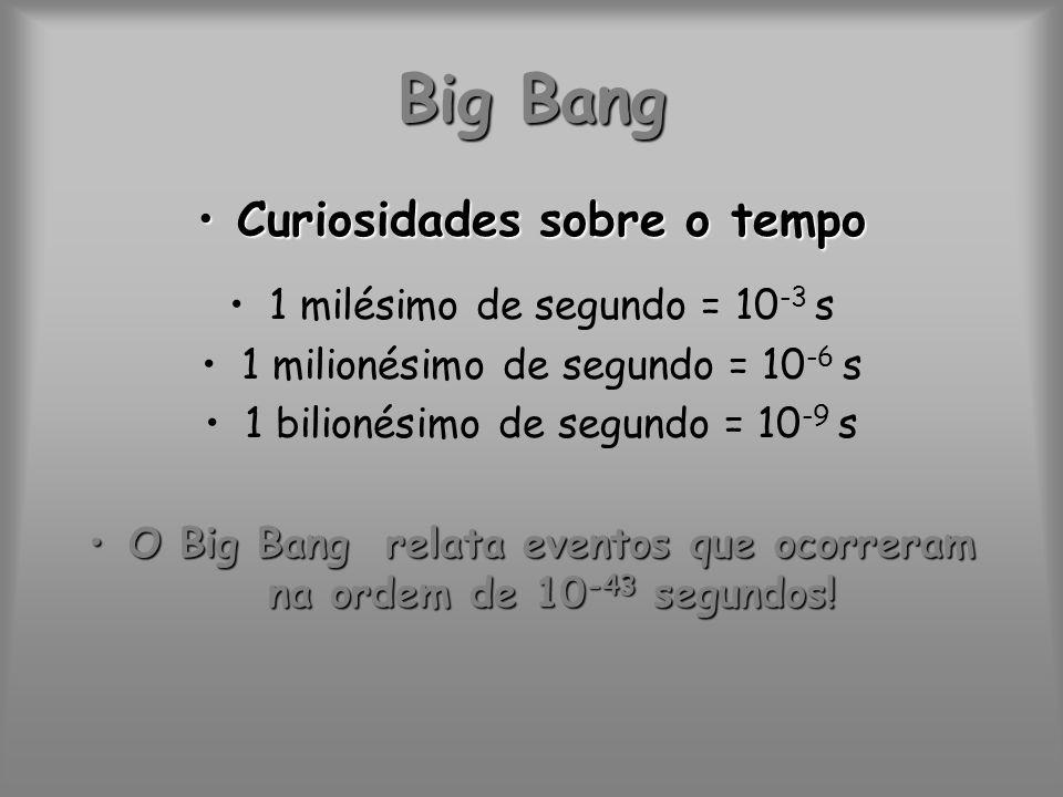 Big Bang Curiosidades sobre o tempoCuriosidades sobre o tempo 1 milésimo de segundo = 10 -3 s 1 milionésimo de segundo = 10 -6 s 1 bilionésimo de segu