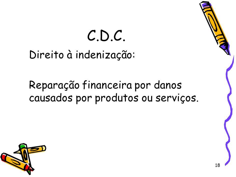 18 C.D.C. Direito à indenização: Reparação financeira por danos causados por produtos ou serviços.