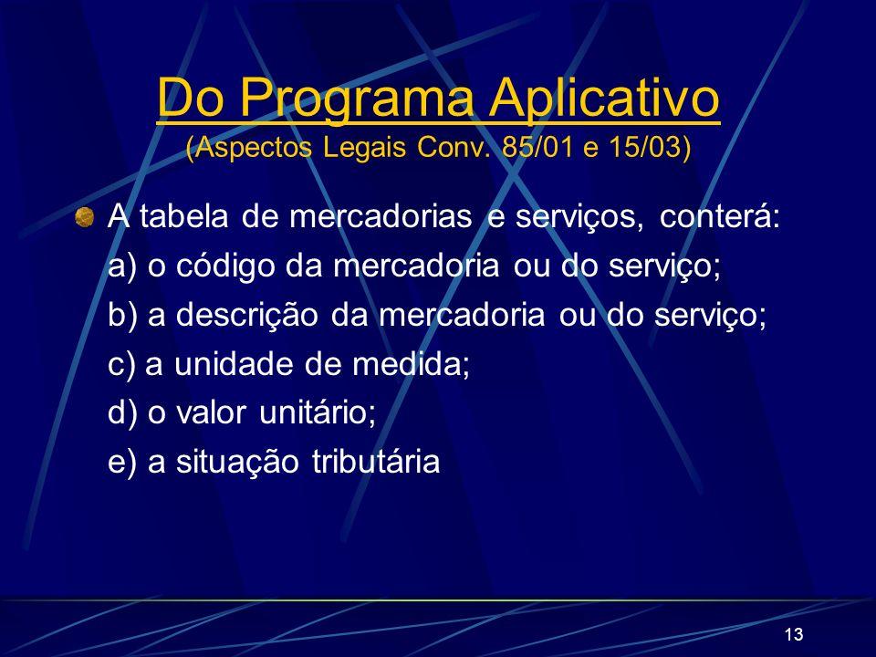 13 A tabela de mercadorias e serviços, conterá: a) o código da mercadoria ou do serviço; b) a descrição da mercadoria ou do serviço; c) a unidade de m