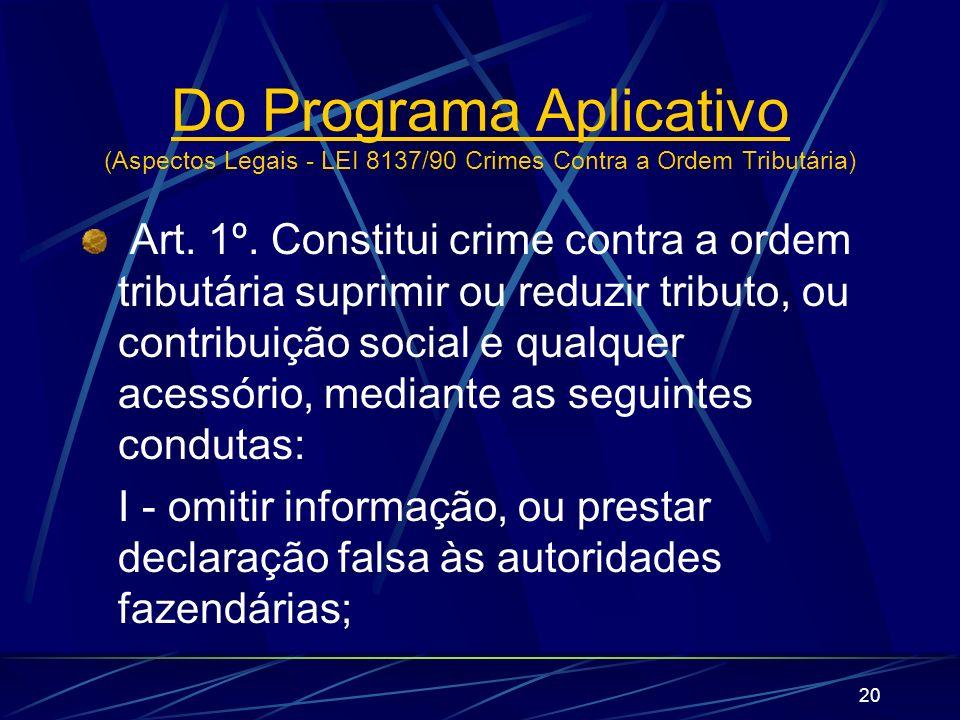 20 Art. 1º. Constitui crime contra a ordem tributária suprimir ou reduzir tributo, ou contribuição social e qualquer acessório, mediante as seguintes