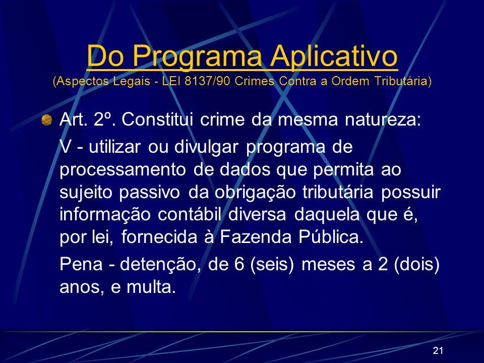 21 Art. 2º. Constitui crime da mesma natureza: V - utilizar ou divulgar programa de processamento de dados que permita ao sujeito passivo da obrigação
