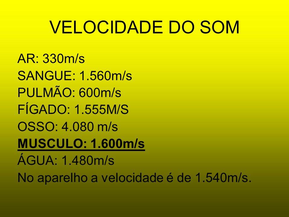 VELOCIDADE DO SOM AR: 330m/s SANGUE: 1.560m/s PULMÃO: 600m/s FÍGADO: 1.555M/S OSSO: 4.080 m/s MUSCULO: 1.600m/s ÁGUA: 1.480m/s No aparelho a velocidad