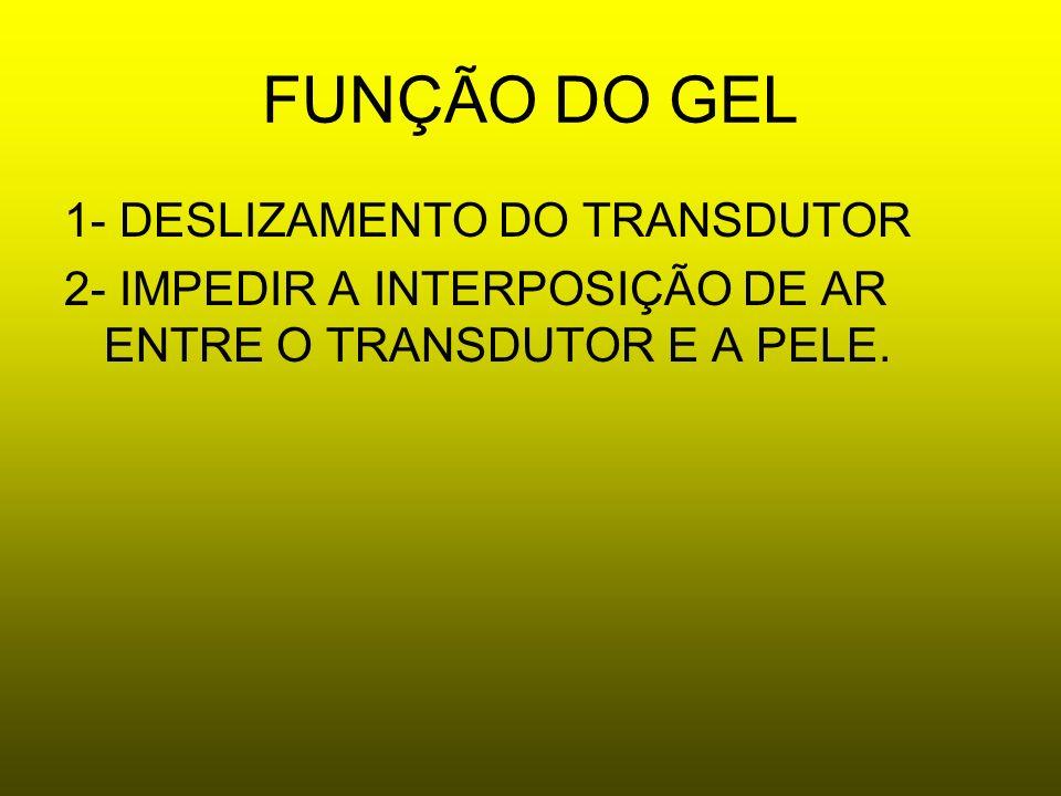 FUNÇÃO DO GEL 1- DESLIZAMENTO DO TRANSDUTOR 2- IMPEDIR A INTERPOSIÇÃO DE AR ENTRE O TRANSDUTOR E A PELE.