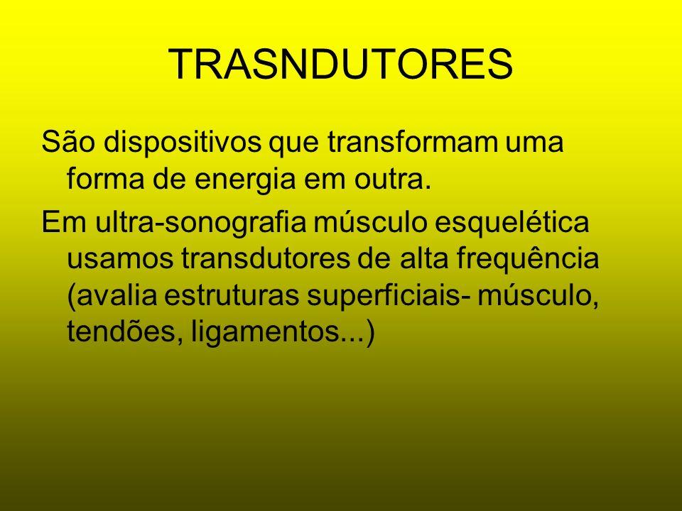 TRASNDUTORES São dispositivos que transformam uma forma de energia em outra. Em ultra-sonografia músculo esquelética usamos transdutores de alta frequ