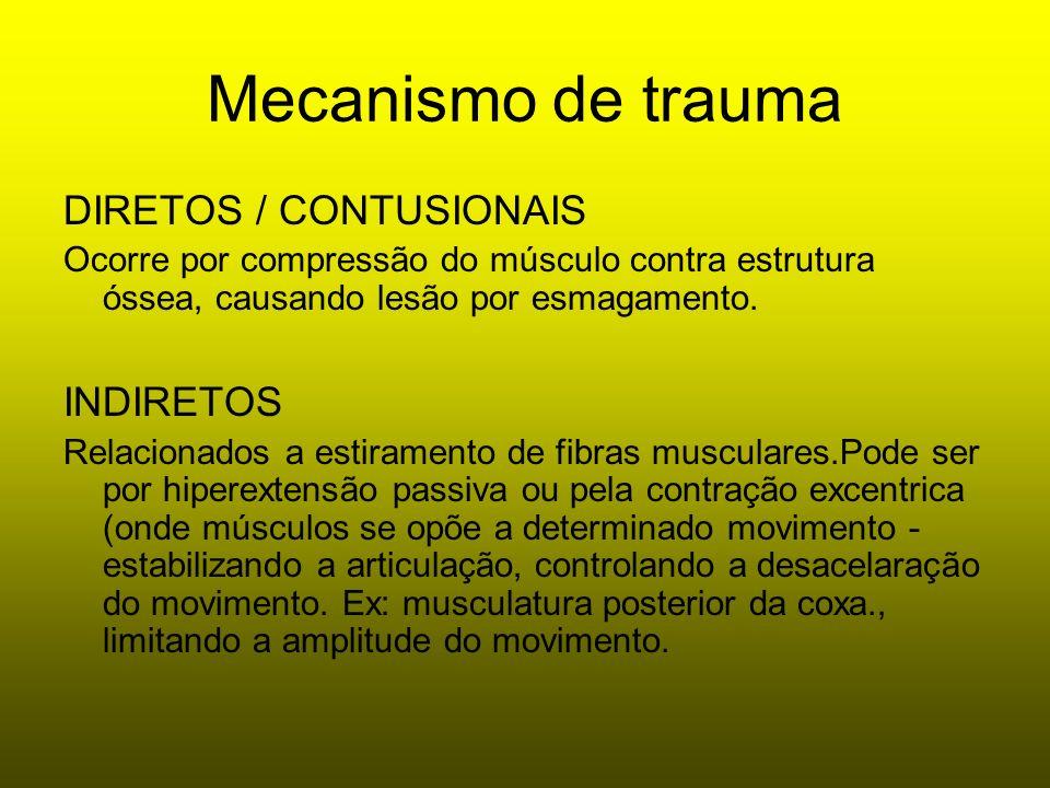 Mecanismo de trauma DIRETOS / CONTUSIONAIS Ocorre por compressão do músculo contra estrutura óssea, causando lesão por esmagamento. INDIRETOS Relacion