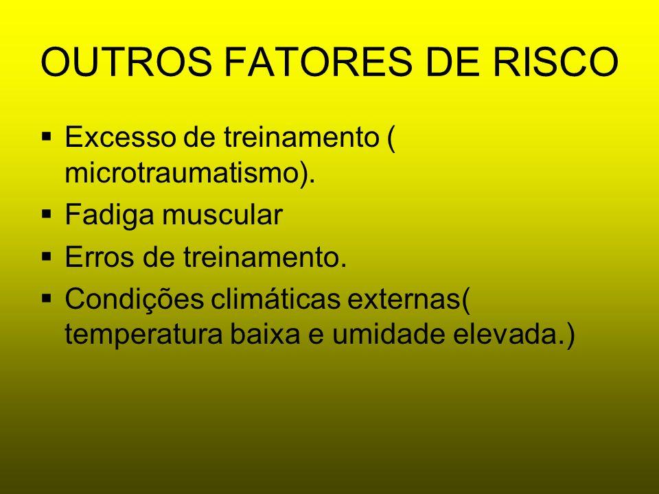 OUTROS FATORES DE RISCO Excesso de treinamento ( microtraumatismo). Fadiga muscular Erros de treinamento. Condições climáticas externas( temperatura b