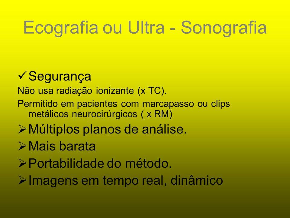 ULTRA-SONOGRAFIA Baseia-se na reflexão do som.A reflexão é chamada de ECO!!!!.