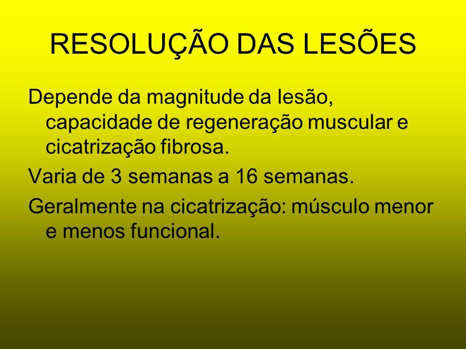 RESOLUÇÃO DAS LESÕES Depende da magnitude da lesão, capacidade de regeneração muscular e cicatrização fibrosa. Varia de 3 semanas a 16 semanas. Geralm