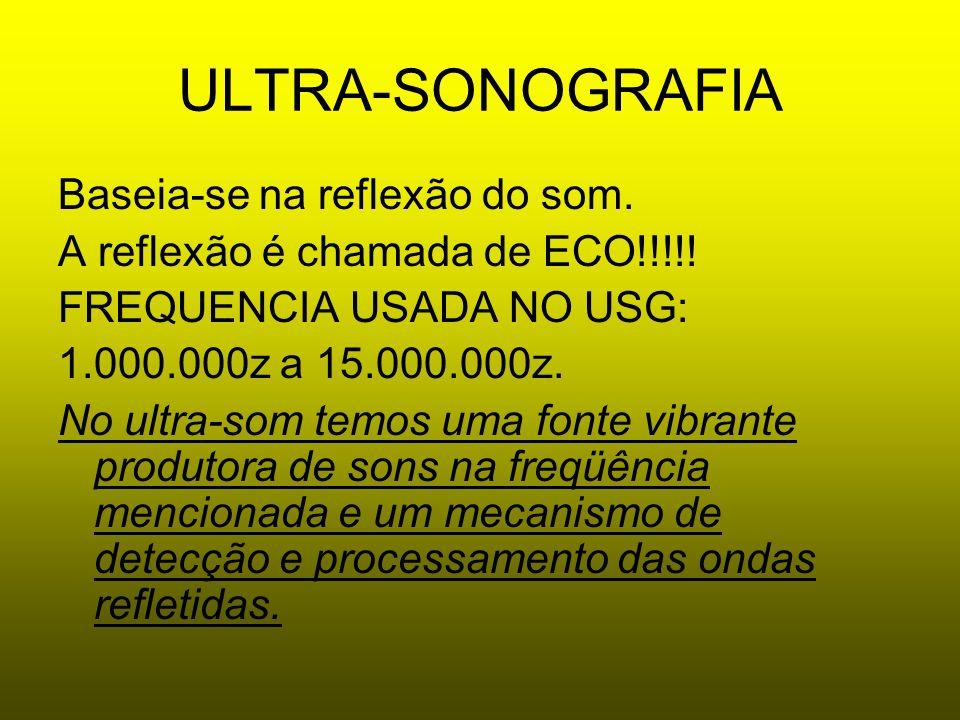 Ecografia ou Ultra - Sonografia Faixa Sonora Audível pelo Homem: 20 Hz a 20.000 Hz Ultra-som = Freqüência acima da audível pelo ouvido humano Freqüência usada no diagnóstico: 1.000.000 Hz (1MHz) a 20.000.000 (20MHz)