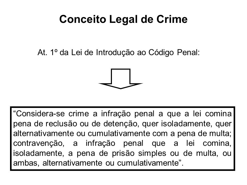 Conceito Legal de Crime Considera-se crime a infração penal a que a lei comina pena de reclusão ou de detenção, quer isoladamente, quer alternativamen