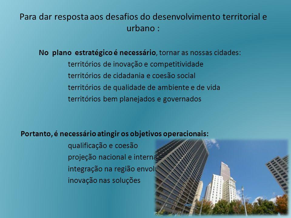 Para dar resposta aos desafios do desenvolvimento territorial e urbano : No plano estratégico é necessário, tornar as nossas cidades: territórios de i