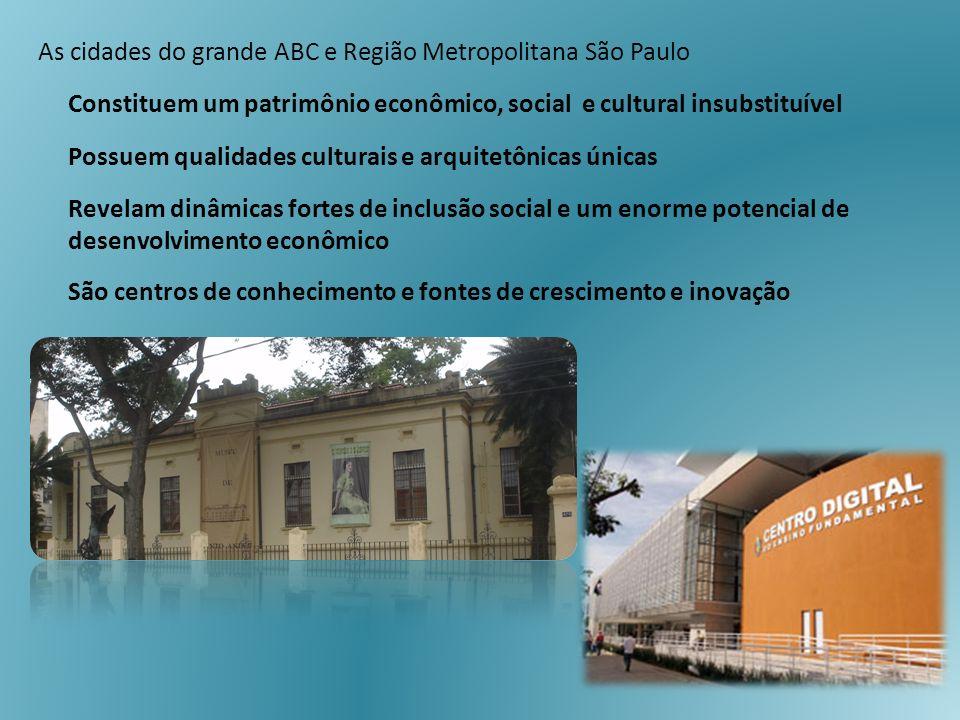 As cidades do grande ABC e Região Metropolitana São Paulo Constituem um patrimônio econômico, social e cultural insubstituível Possuem qualidades cult