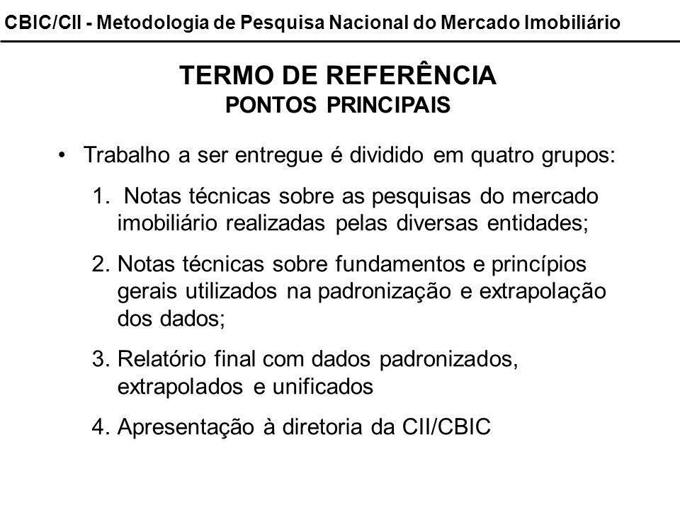 CBIC/CII - Metodologia de Pesquisa Nacional do Mercado Imobiliário TERMO DE REFERÊNCIA PONTOS PRINCIPAIS Trabalho a ser entregue é dividido em quatro