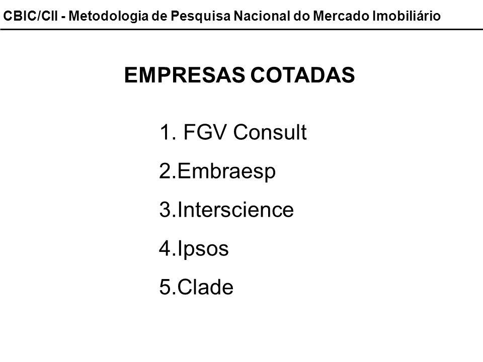 CBIC/CII - Metodologia de Pesquisa Nacional do Mercado Imobiliário EMPRESAS COTADAS 1. FGV Consult 2.Embraesp 3.Interscience 4.Ipsos 5.Clade